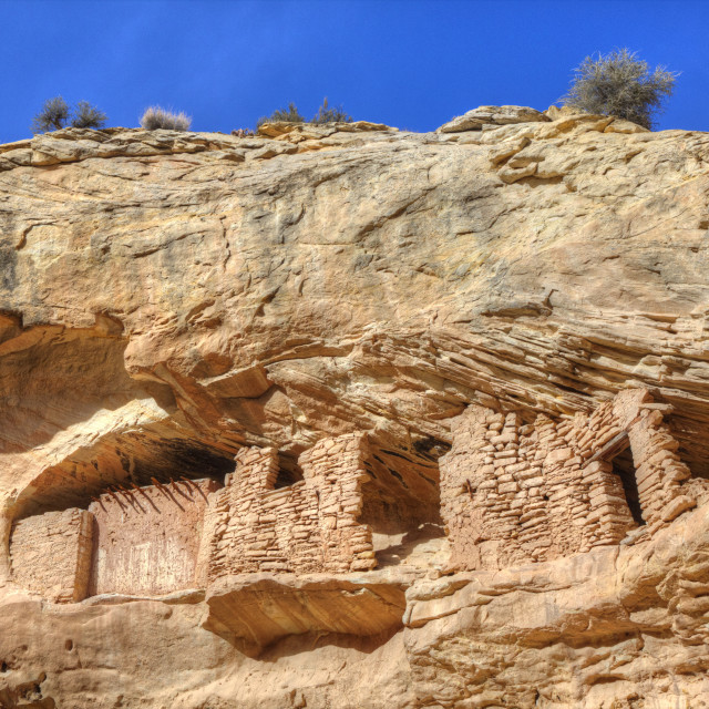 """""""Target Ruins, Ancestral Pueblo, up to 1,000 years old, Coomb Ridge area,..."""" stock image"""