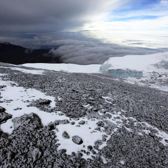 """A dusting of fresh snow on the summit of Kilimanjaro, Tanzania"" stock image"