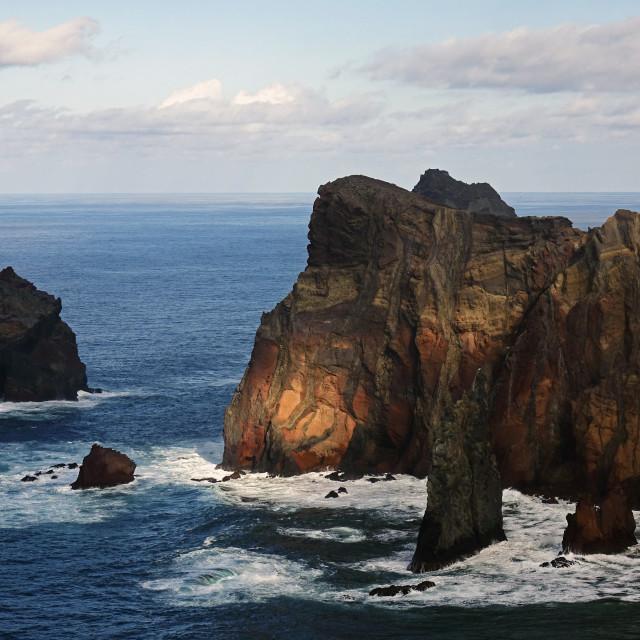 """""""The dramatic sea cliffs of the Sao Lourenco peninsula, eastern Madeira, Portugal"""" stock image"""