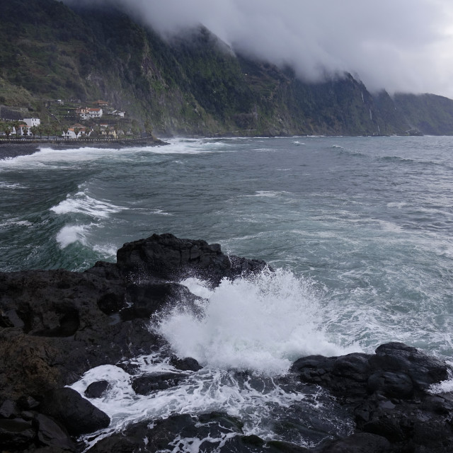 """The wild coastline near Seixal, northwest Madeira, Portugal"" stock image"