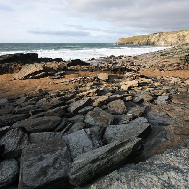 """Trebarwith Strand, north Cornwall, England"" stock image"