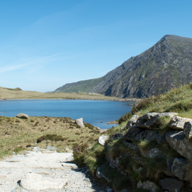 """Llyn Idwal and the mountain of Pen yr Ole Wen"" stock image"