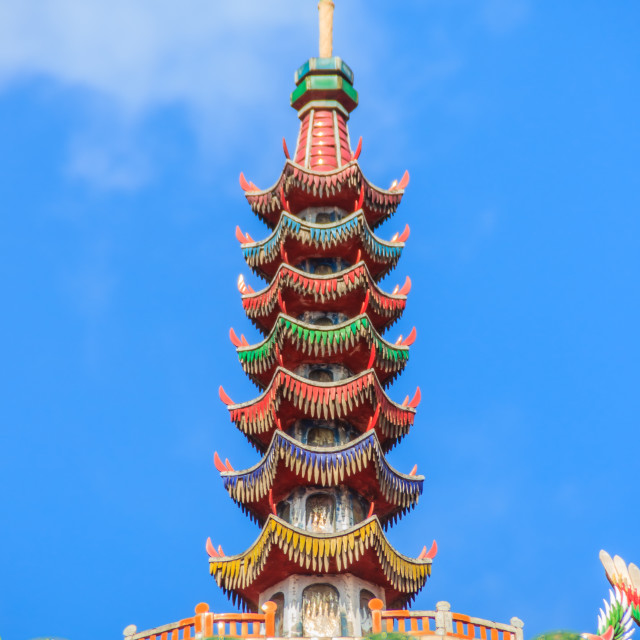 """""""Beautiful sculpture on the roof at Lungshan Temple of Manka, Buddhist temple..."""" stock image"""