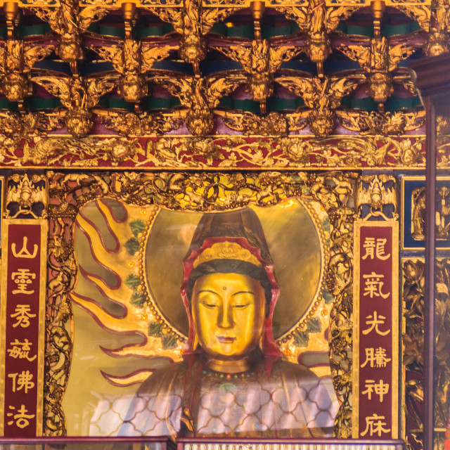 """""""Beautiful Guanyin sculpture at Lungshan Temple of Manka, Buddhist temple in..."""" stock image"""