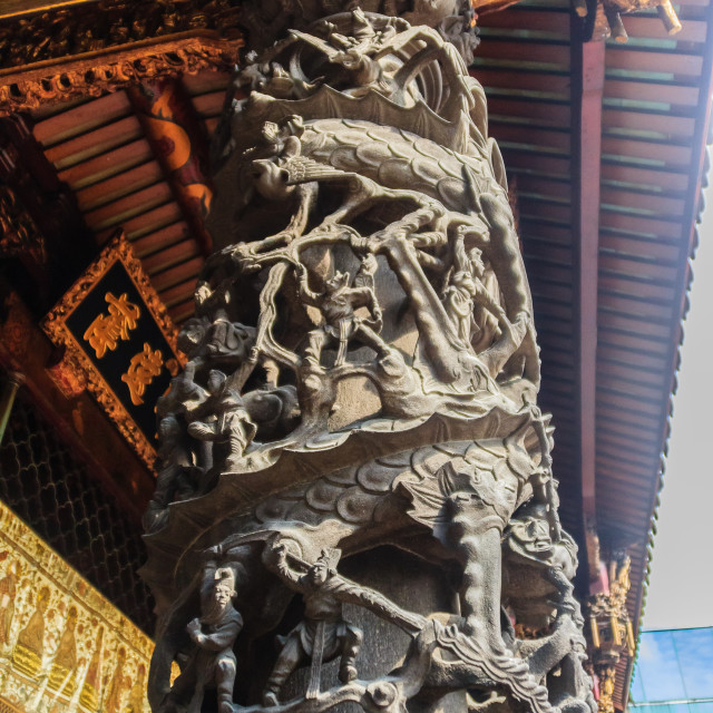 """""""Beautiful dragon sculpture at Lungshan Temple of Manka, Buddhist temple in..."""" stock image"""