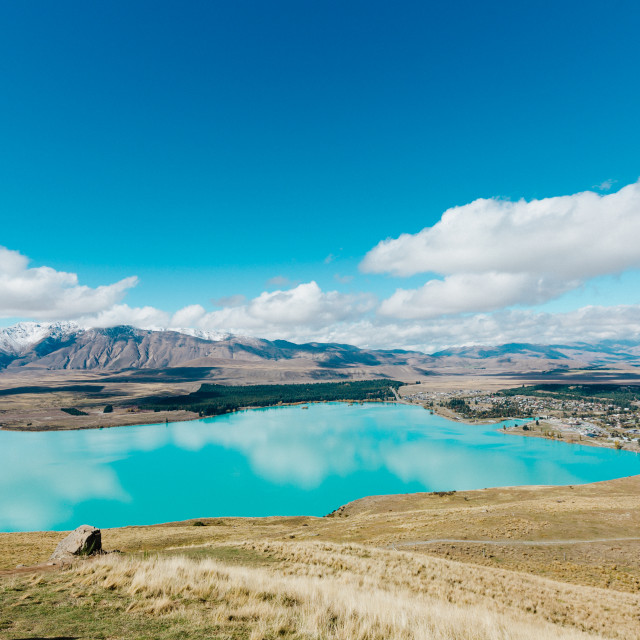 """Aerial view of Lake Tekapo from Mount John Observatory in Canterbury"" stock image"