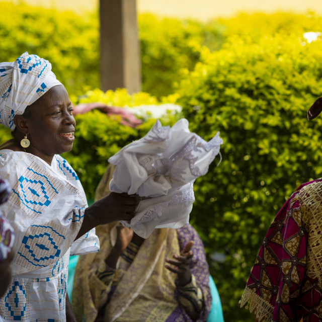 """""""Bissau, Republic of Guinea-Bissau - January 31, 2018: Group of women singing and dancing traditional songs at a community meeting in the city of Bissau, Guinea-Bissau, West Africa"""" stock image"""