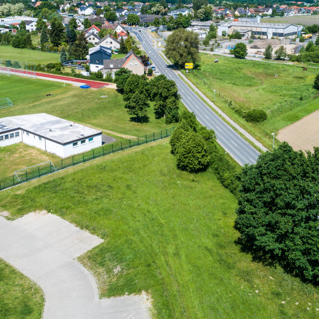 """""""Aerial view of the clubhouse of a regional football club on the outskirts of..."""" stock image"""