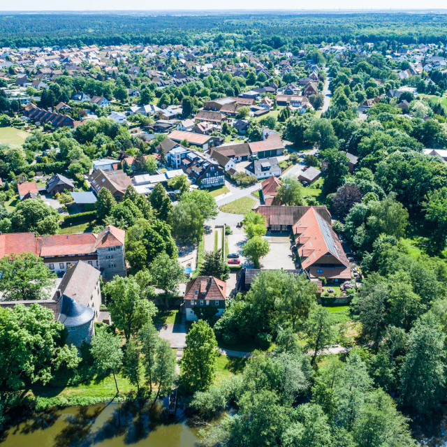 """""""Aerial view of a German village with a small forest, a pond and a moated..."""" stock image"""