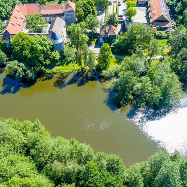 """""""The pond at the moated castle Neuhaus from the air, with bushes and trees, at..."""" stock image"""