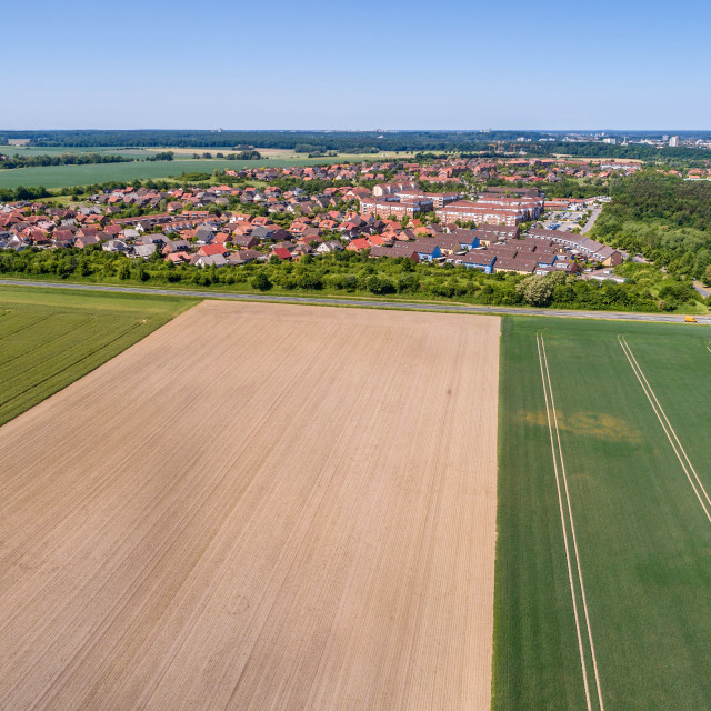 """""""Aerial view of a suburb on the outskirts of Wolfsburg in Germany, with..."""" stock image"""