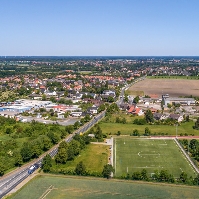 """""""Aerial view of an industrial estate on the outskirts of Wolfsburg, Germany,..."""" stock image"""