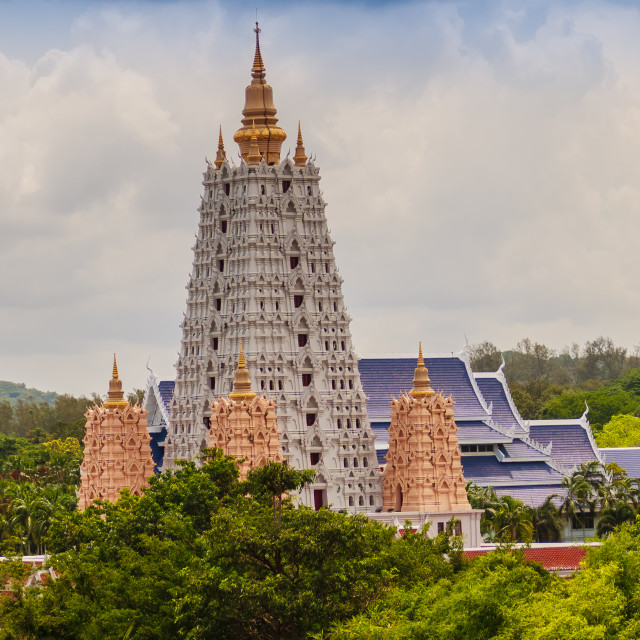 """Beautiful White Buddhagaya Pagoda in Wat Yannasang Wararam Buddhist Temple at..."" stock image"