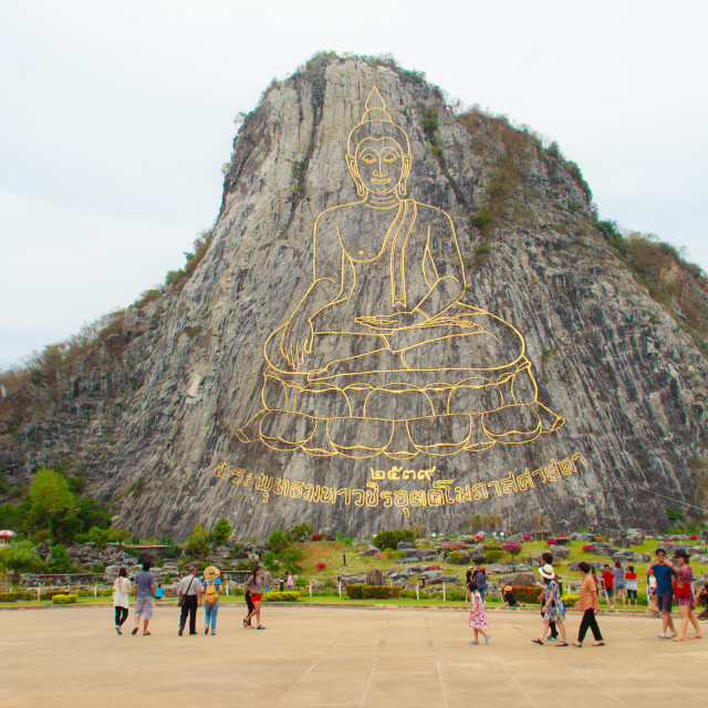 """Chonburi, Thailand - May 3, 2015: Golden Buddha laser carved and inlayed with..."" stock image"