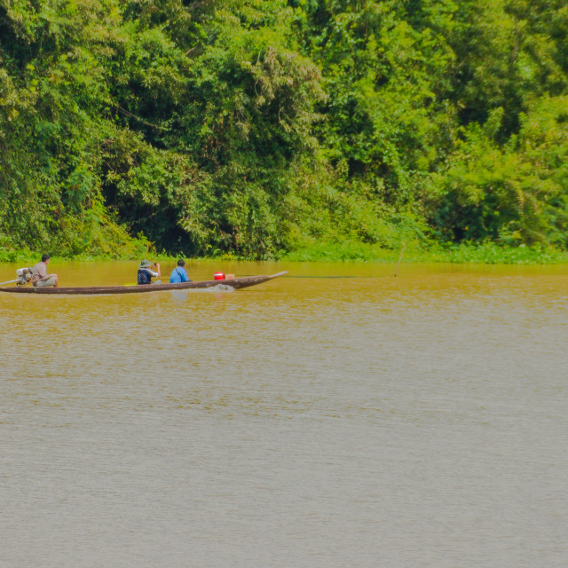 """""""Tourist enjoy trip in the local long tail boat at the Moon River, Ubon..."""" stock image"""