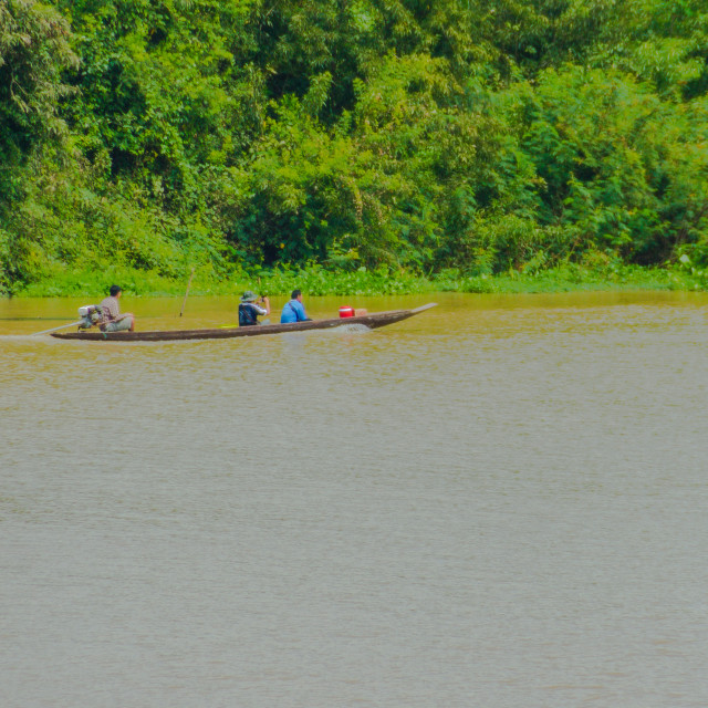 """""""Local Long tail boat and the tourist in the Moon River, Ubon Ratchatthani,..."""" stock image"""