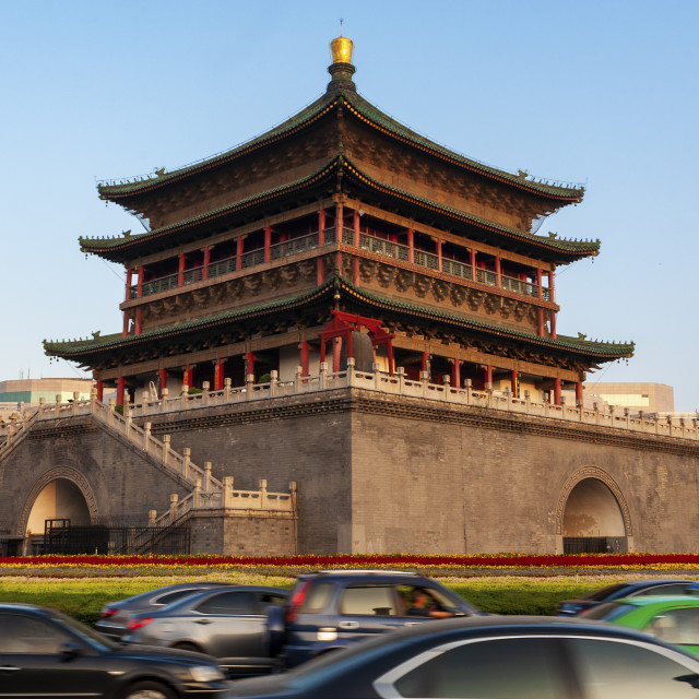 """View of the beautiful Bell Tower in the city of Xian in China, Asia."" stock image"