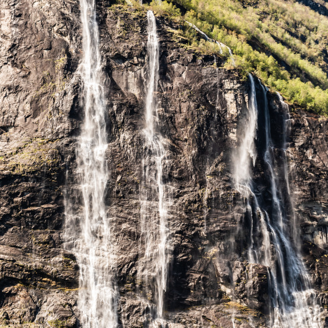 """Norway - Geirangerfjord - Seven Sisters Waterfall"" stock image"
