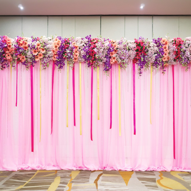 """Beautiful backdrop in pink decorated with flower and ribbon"" stock image"