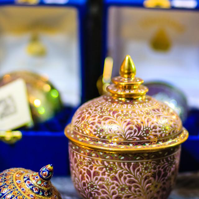 """Beautiful traditional Thai five-colored porcelain ceramic bowls. Benjarong..."" stock image"