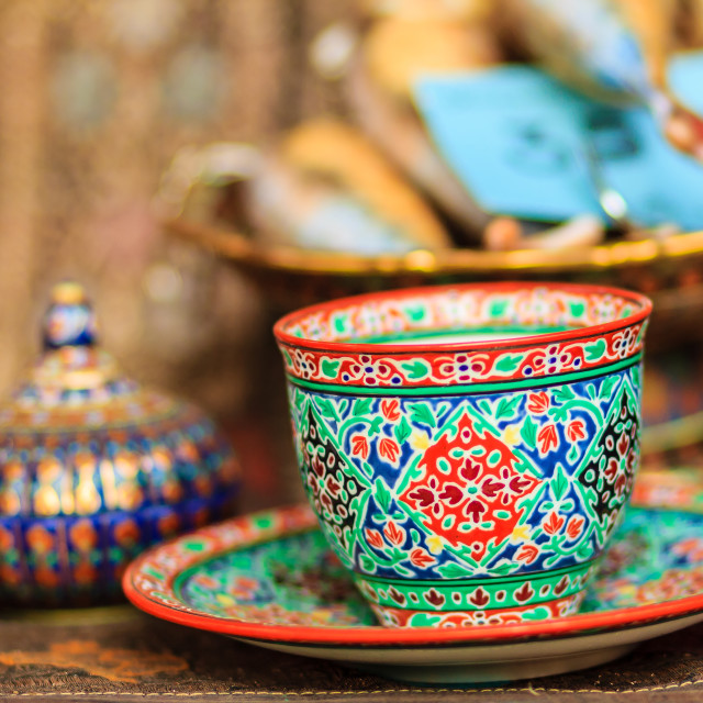 """""""Vintage Thai's style porcelain coffee cup handmade. Beautiful traditional..."""" stock image"""