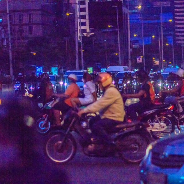 """Bangkok, Thailand - January 30, 2017: Many Motorcycles on Sathorn Road in..."" stock image"