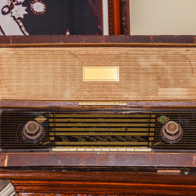 """Old vintage FM radio receiver since world war II period."" stock image"