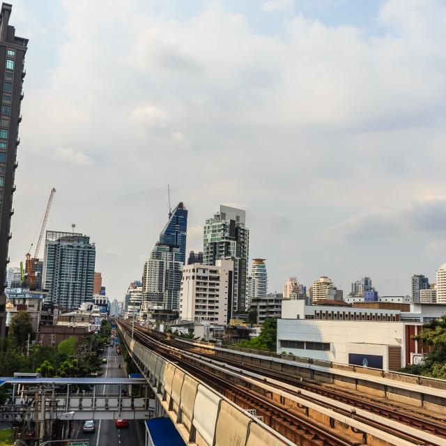 """""""Bangkok Mass Transit System (BTS) public skytrain at the Thong Lor BTS..."""" stock image"""