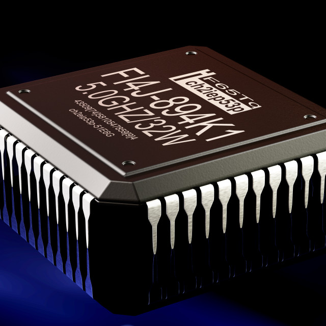 """Integrated circuit digital computer parts technology. Micro chip artificial..."" stock image"