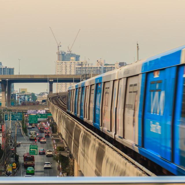 """Bangkok, Thailand - February 28, 2017: BTS Skytrain on elevated rails above..."" stock image"