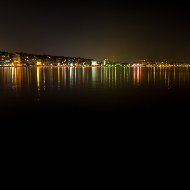 """Thessaloniki, Greece long exposure harbor at night"" stock image"
