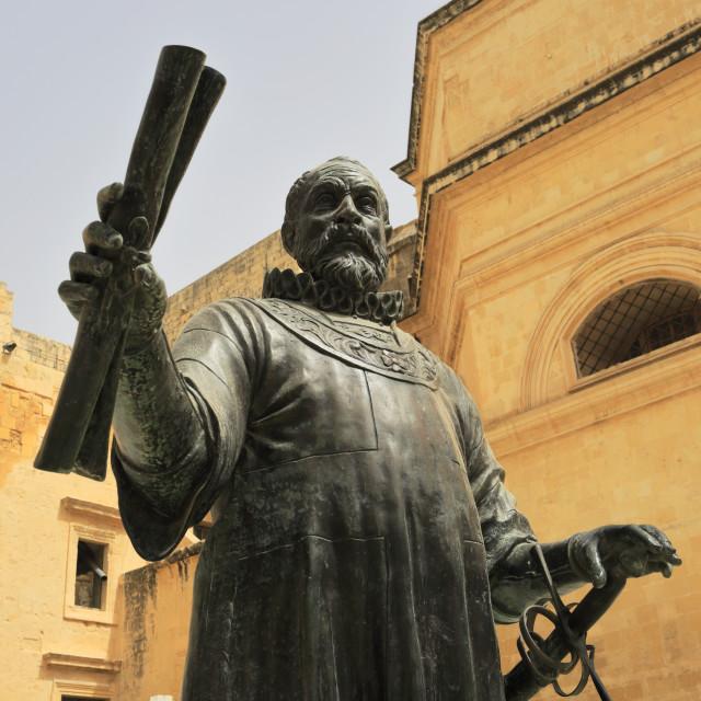 """Monument to Jean de la Valette, founder of Valletta, Jean de Valette square,..."" stock image"