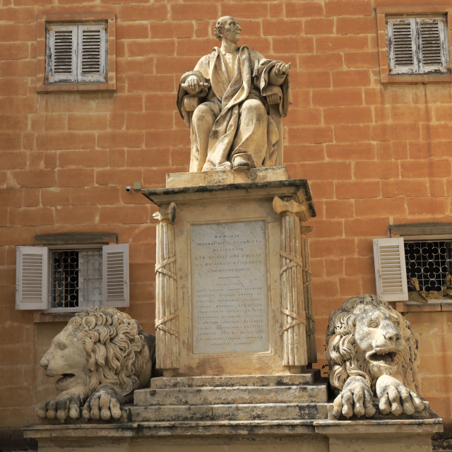 """Joseph Melitinses Memorial, Upper Barracca Gardens, within St Peter & Paul..."" stock image"