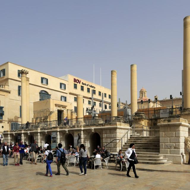 """""""The Ruined Theatre, Trio ir Repubblika, Valletta City, Malta"""" stock image"""