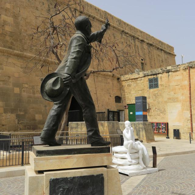 """""""Statues in Merchants Street, Valletta city, Malta."""" stock image"""