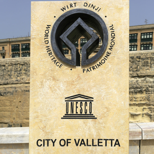 """The Unesco Plaque, Trio ir Repubblika, Valletta City, Malta"" stock image"