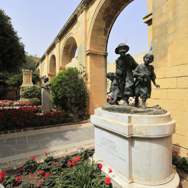 """""""Statue of Les Cavroches, Upper Barracca Gardens, within St Peter & Paul..."""" stock image"""