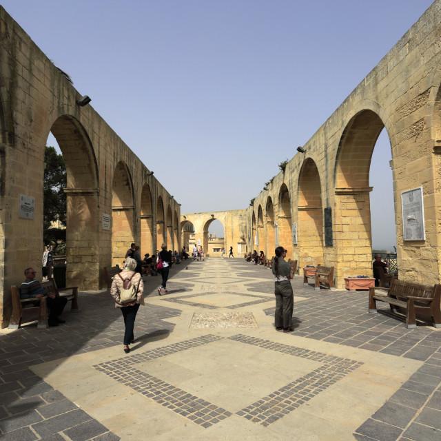 """Summer, Upper Barracca Gardens, within St Peter & Paul Bastion, Valletta, Malta"" stock image"