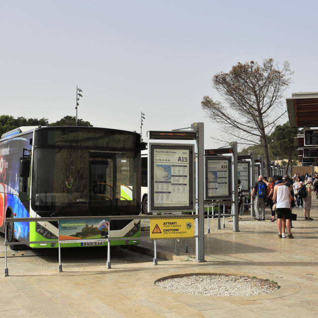 """Public buses, main bus terminal, Valletta City, Malta"" stock image"