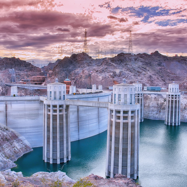 """""""Hoover Dam and Colorado river."""" stock image"""