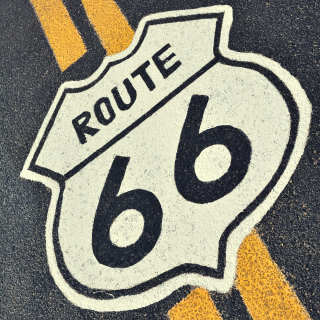 """Route 66 in California, USA."" stock image"