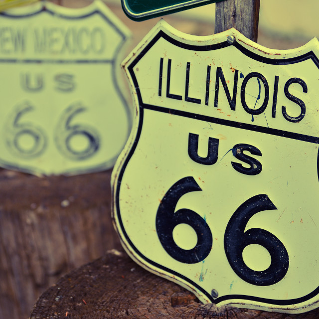 """""""Route 66 decorations in the city of Seligman in Arizona."""" stock image"""