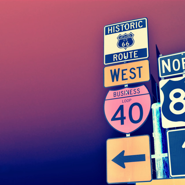 """""""Route 66 road signs on Oklahoma."""" stock image"""