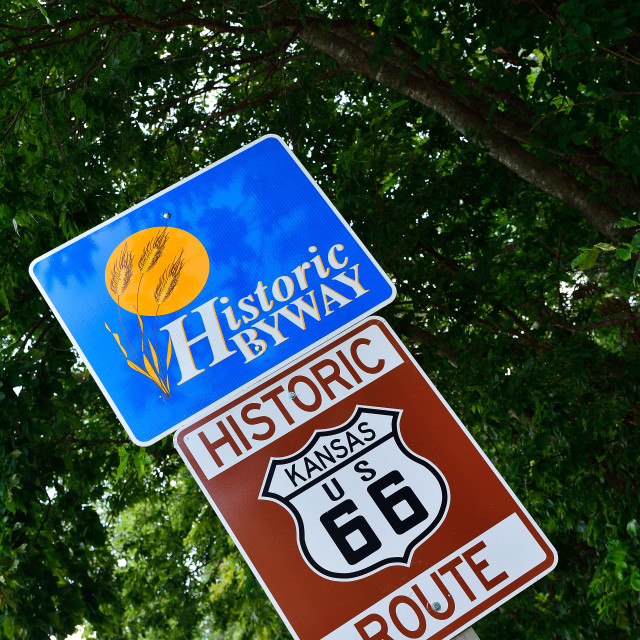 """""""Historic Route 66 road sign."""" stock image"""