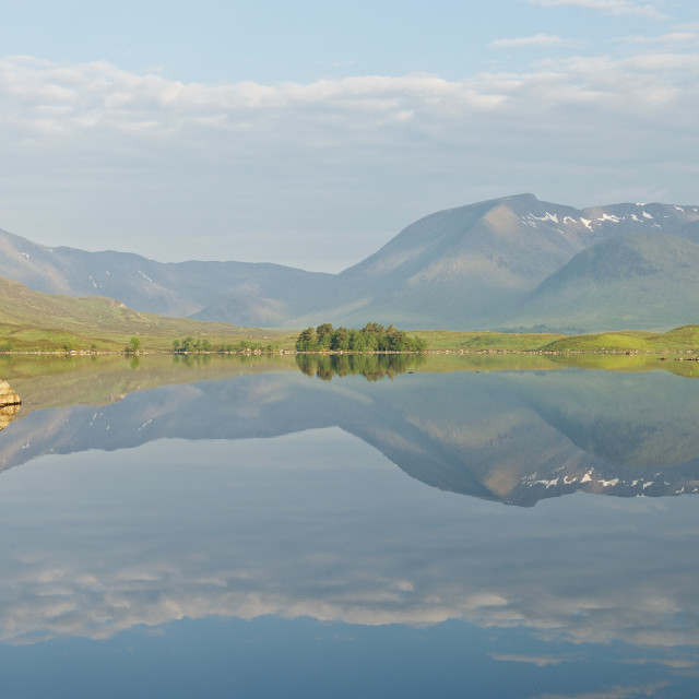 """Summer Reflections of Lochan na h-Achlaise"" stock image"