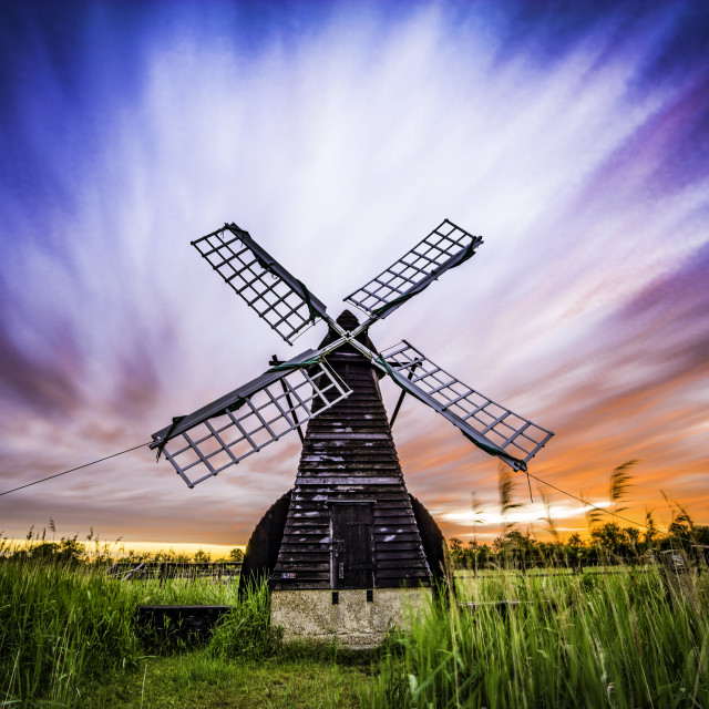 """Wicken Fen windpump, Cambridgeshire"" stock image"