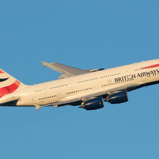 """""""4B9A3623 A380 G-XLEC 180107 EGLL"""" stock image"""