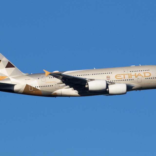 """4B9A3389 A380 A6-APA 180108 EGLL"" stock image"