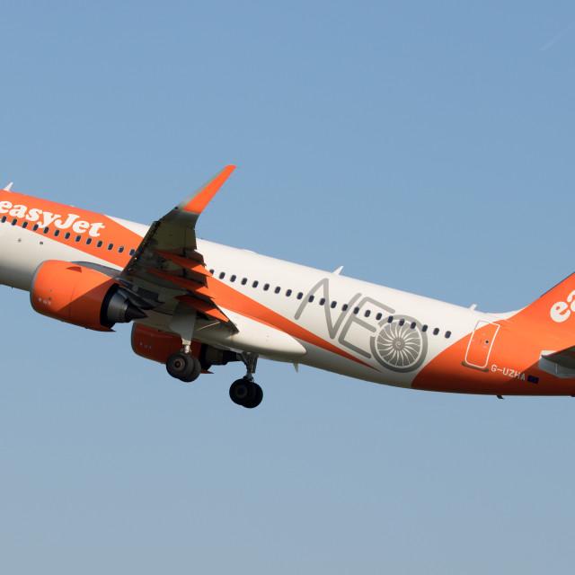 """4B9A8699 A320-251N G-UZHA EGCC 180519"" stock image"