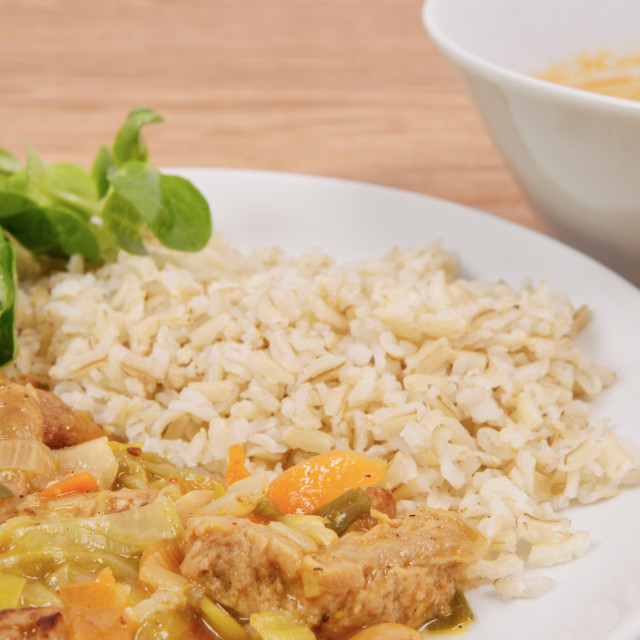 """""""China of soy noodles and leek with rice on a white"""" stock image"""